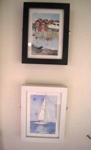 strandskata (överst) segelbåt (nederst) akvarell 2012