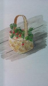 Smultronkorg   Akvarell