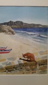 Vid  Strand vid Europabalkongeni Nerja   Akvarell
