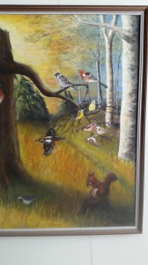 Runt fågelmaten   Akryl