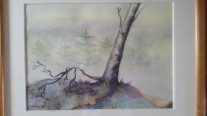 Trä på sne   Akvarell