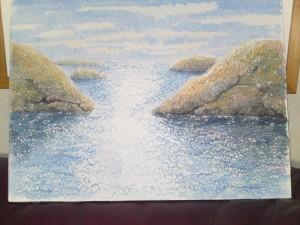 Havet Grovgängat papper   Akvarell