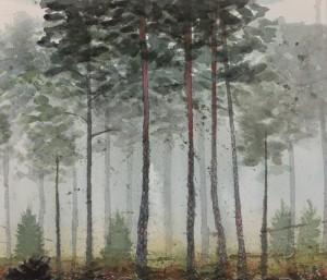 tallskog, akvarell