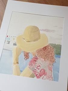 självporträtt, akvarell