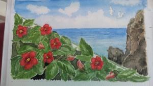 Ner mot havet  Akvarell