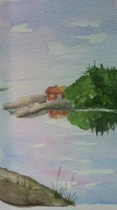 Vänervy  Akvarell